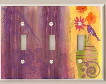 Triple Toggle Light Switch Plate - Flowers in Vase with Purple Bird and Swirl - Yellow, Purple, Pink and Orange