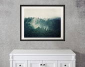 Teal Art, Framed Photography, Nature Print, Landscape Photography, Mountain Trees in Fog, Framed Art Ready to Hang - Savage Beauty