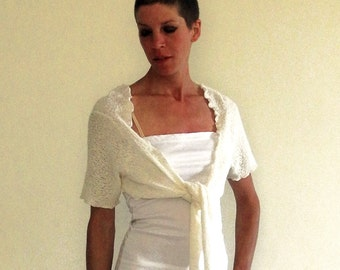 ivory bolero shrug, white bridal top, short sleeved top