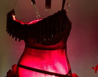 Tramp Lamp- Made from Upcycled Repurposed Sheer Black Bustier Corset lined with Dark Pink Fabric trimmed in assorted roses and black beads