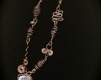 Kyanite from Africa and Copper Coils Necklace