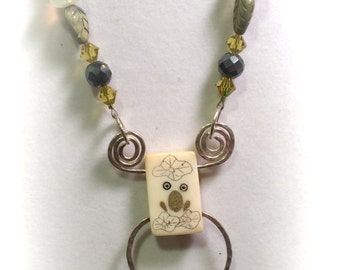 Frog on a Lily pad - Necklace - Tile and Sterling