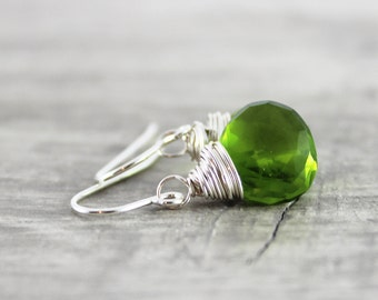 Green Quartz Earrings, Bright Green Earrings, Sterling Silver Earrings, Peridot Quartz, Wire Wrap Earrings, Green Gemstone Earrings