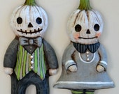 Anthropomorphic White Pumpkins Jack-o-Lanterns Original Hand Painted Halloween Folk Art Ceramic Sculpture OOAK