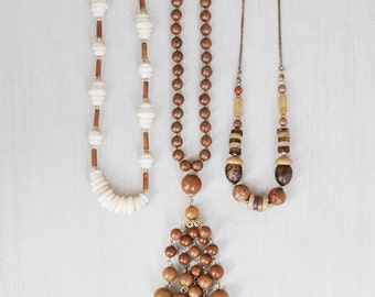 3 Vintage Faux Bois Necklaces - plastic fake wood and puka shell - wooden look beaded necklace lot