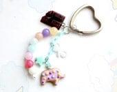 Elephant Cookie Keychain, Handmade Polymer clay kawaii charms keychain, gift for her