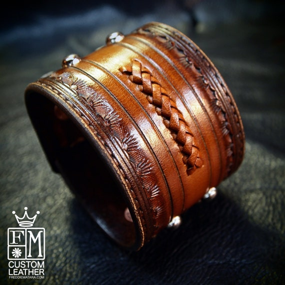Leather cuff bracelet Classic Old West Brown Vintage style Rock and Roll Stamped and Tooled for YOU in USA by Freddie Matara