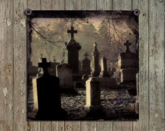 Graveyard Tombstones, Fog, Gothic Scene, Dark, Sepia Hues, Dark Art, Halloween Tombstones Photograph -  All Hallow's Eve