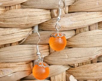 Neon Orange Marble Earrings,  Painted Glass, Bridesmaid Jewelry