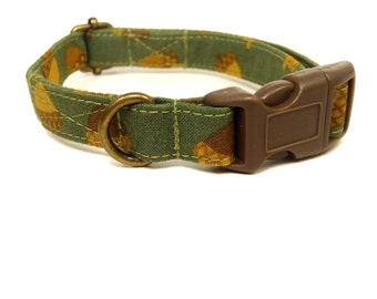 Nutty Buddy - Organic Cotton CAT Collar Breakaway Safety - Hunter Green Brown Acorns Fall Autumn - All Antique Brass Hardware