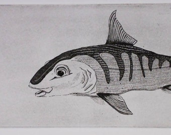 Bonefish, Fly fishing, Original Etching Aquatint