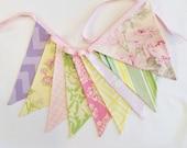 AS SHOWN Lime, Pastel Pink, Yellow, Lime Fabric Bunting Flag Banner, Garland. Designer Fabrics, Wedding Shower Decor, Kids Rooms Birthdays