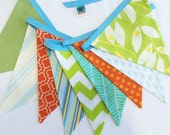 As Shown Colorful Fabric Bunting Banner Flag Photo Prop Decoration in Orange, Green, Yellow and Aqua. 9 Large Flags. Birthdays, Showers, Kid