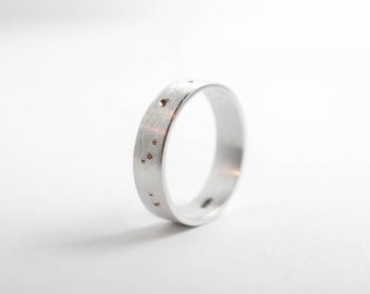 Brushed Silver Constellation Ring, Womens Silver Everyday Ring