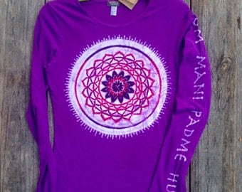 Mandala Om Mani Padme Hum tops and tees  eco yoga purple long sleeved  t shirt women hand drawn hand painted hand dyed -yoga clothes -