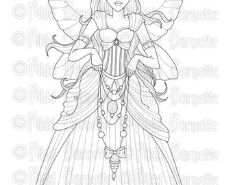 Digital Stamp - Printable Coloring Page - Fantasy Art - Fairy Stamp - With or Without Wings - Christina - by Nikki Burnette - PERSONAL USE