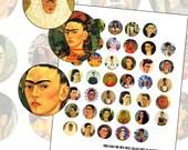 Frida Kahlo 1 Inch Circle Digital Collage Sheet Photographs and Paintings 25mm circle