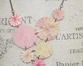 Unique Fabric Umbrella Statement Necklace Little Parasols Pink and Cream Colors