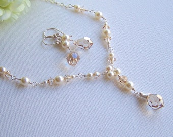 Bridal Necklace and Earring Set, Sterling Silver, Genuine Pearl & Swarovski Crystal - Bridal Necklace and Earring Set