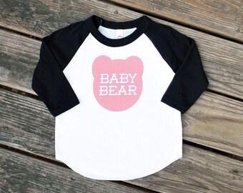 Baby Bear Kids Raglan Black Sleeve Baseball TShirt with Pink Print - Birthday Gift, Family Photos