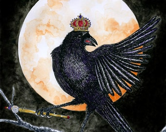 Crow King with Crown and Sceptre Fine Art Print Raven Full Moon Fantasy Pen and Ink Watercolor Illustration