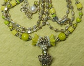 Hand knotted sterling silver Bali beads, cultured seed pearls, vintage glass and quality chautruse Czech glass beaded necklace