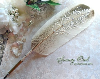 Ornate SNOWY OWL Totem Feather Quill Dip Pen with Ballpoint Option