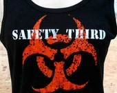 MENS Infected Biohazard SAFETY THIRD tshirt  black Tank beater tee s m l xl xxl anarcho hazpunk punk Safety3rd mens tank top