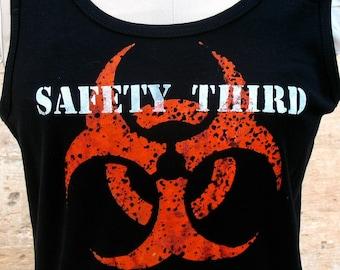 MENS Infected Biohazard SAFETY THIRD tshirt  black Tank beater tee s m l xl xxl anarcho hazpunk punk Safety3rd mens tank top