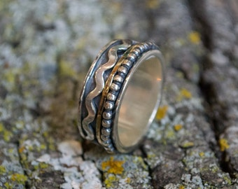 Spinners ring, Mens band, twotone ring, wavy ring, silver wedding band, gold silver band, boho ring, unisex wedding band - Waves R2081