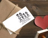 LIMITED EDITION You choose your Stick Family Members Custom Personalized Return Address Custom Personalized Red Rubber Stamp