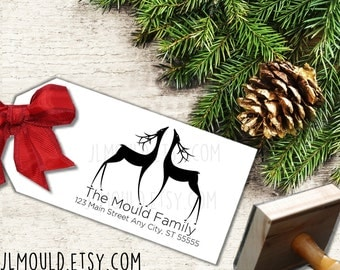 MAS001 JLMould Custom Rubber Stamp with Reindeer Family Modern Fancy Personalized with your last name Choose the Size