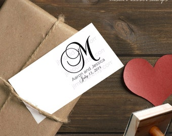 0010 JLMould Wedding Bridal Gift Mongram Favors Invites Names Custom Stamp - You choose style