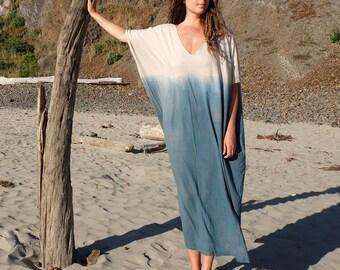INDIGO Dip Dyed V-Neck Long Kaftan ( light hemp and organic cotton knit) - Organic Kaftan