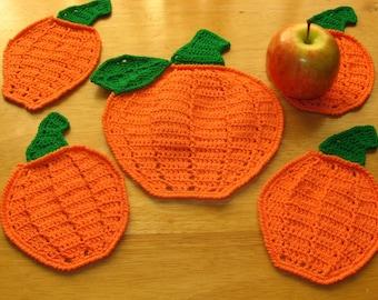 Pumpkin Coaster Set - Pumpkin Decor - Handmade Crochet Made To Order 5 Piece Set - Fall Holidays or Nature, Harvest, Halloween, Thanksgiving