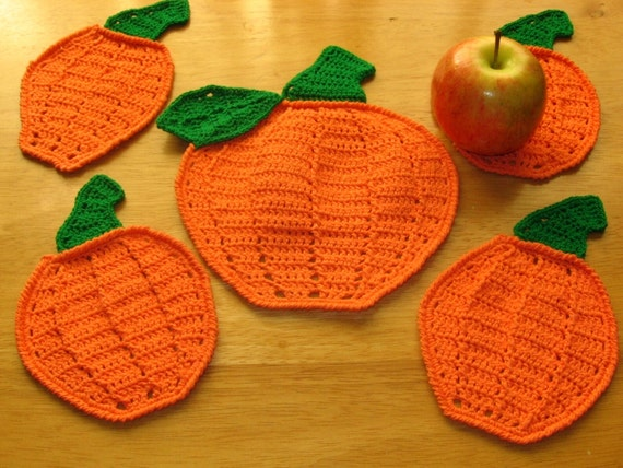 Pumpkin Coaster Set - Pumpkin Decor - Handmade Crochet Made To Order 5 Piece Set - Fall Holidays or Nature, Harvest, Halloween, Thanksgiving