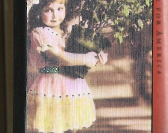 Primitive Style Wood Photo Block Little Girl With Big Hat And Pot of Flowers