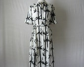 70s Dress Bamboo Print Black and White Dress 1970s Vintage Dress