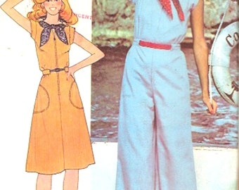 70s Vintage jumpsuit dress and scarf disco era retro style McCalls 5094 sewing pattern Bust 34 UNCUT