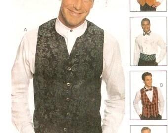Grooms vest cummerbund bow tie wedding or bartenders or Maitre d outfit sewing pattern McCalls 9136 Sz 40 to 44 UNCUT
