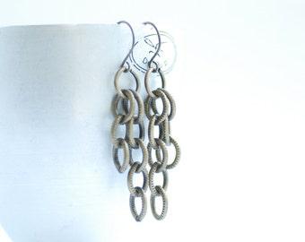 Brass Earrings, Chain Earrings, Long Earrings, Antiqued Brass Jewelry, Textured Earrings, Metal Earrings, Statement Earrings