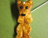 Australian Cattle Dog Red Heeler Hangin' On Artist Hand-made Clay Pendant C4