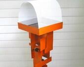 Bird Feeder Modern Build series bird feeder No. 16 in welded steel with orange enamel finish