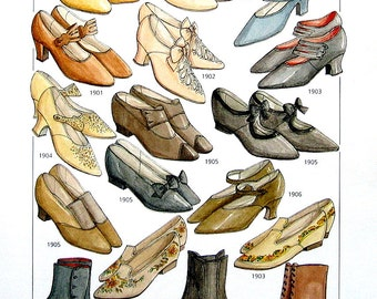 20th Century Fashion Design - Women's Footware, Early 1900's  - Reference Material -1993 Vintage Book Page - 9.5 x 8