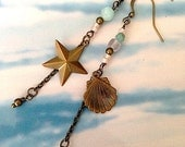 Sea Glass Long Earrings vintage brass star and shell charms beach jewelry mermaid magic pastels