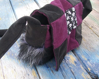 Purple Black Skulls Faux Fur Patchwork Recycled Corduroy Crossbody Purse
