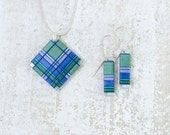 Sea Green Azure Thread Wrapped Fiber Jewelry with Periwinkle Blue Cobalt and Turqouise Accents