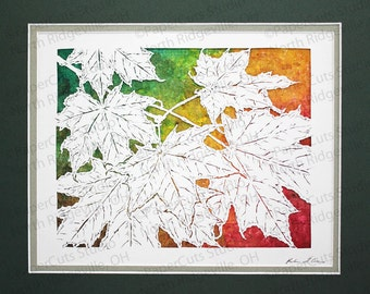 New England Autumn Papercutting- Handcut Original, Watercolor Backing, *FINAL EDITION*