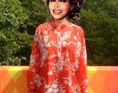vintage 60s women's shirt TUNIC kaftan beach tropical resort print Large XL 70s lady winn