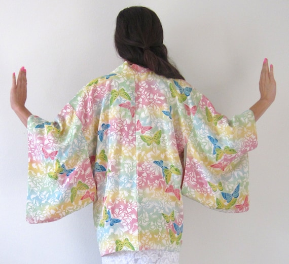 Vintage 60s 70s Pastel Butterfly Kimono